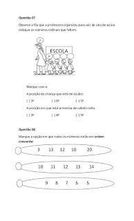 avaliação 1 ano ensino fundamental matematica