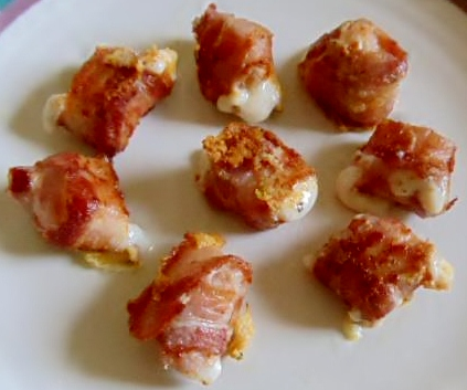 Bacon-wrapped feta cheese