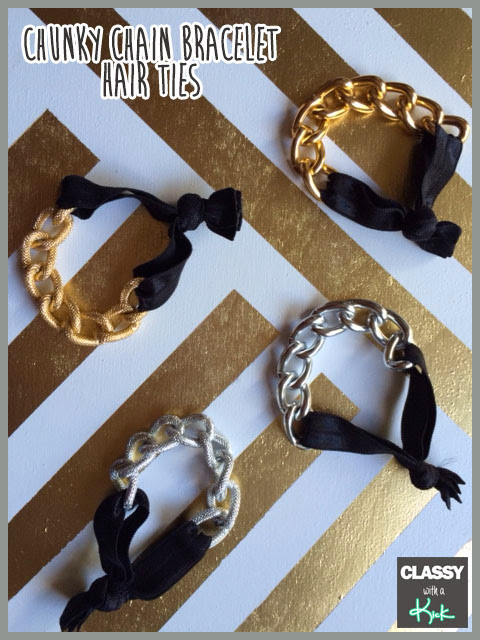 Classy with a Kick: Chunky Chain Bracelet Hair Ties