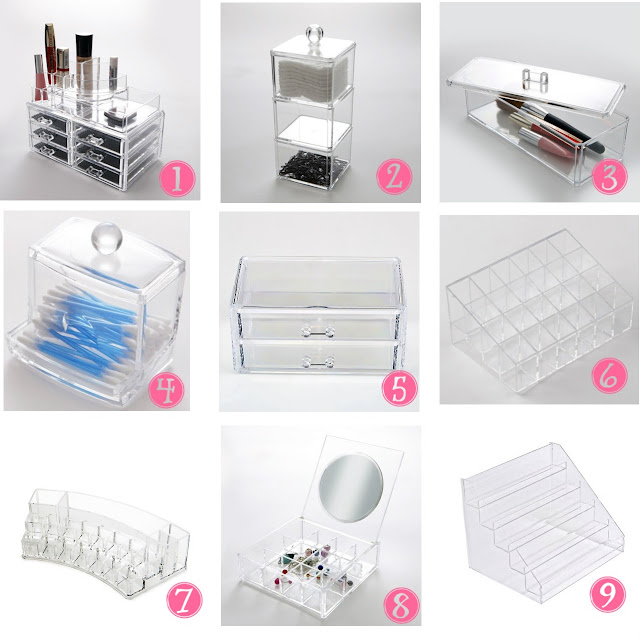Muji style affordable clear acrylic makeup storage UK