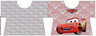 tarjeta imprimible gratis con forma de camisa de Cars