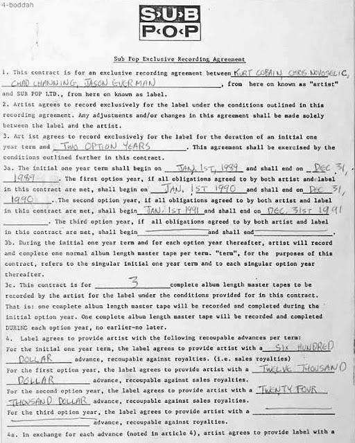 Nirvana Sub Pop recording agreement