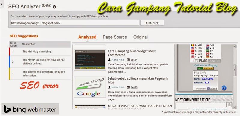 Cara Gampang deteksi dengan Bing Webmaster