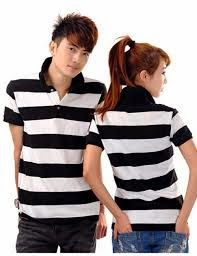 Fashion wear man women in stripe for Couple polo shirts online