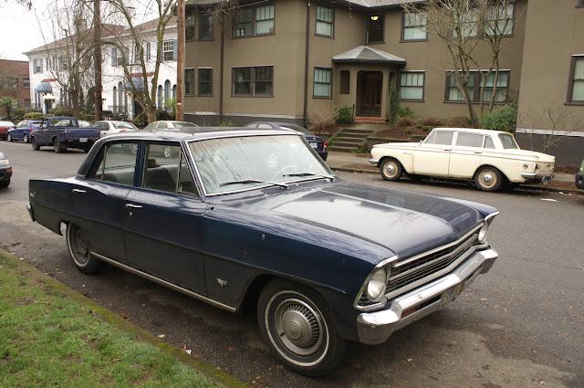 1967 Chevrolet Chevy II Nova sedan and 1961 Rambler American.