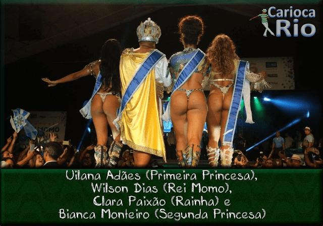 Uilana Adães (Primeira Princesa), Wilson Dias (Rei Momo), Clara Paixão (Rainha) e Bianca Monteiro (Segunda Princesa)