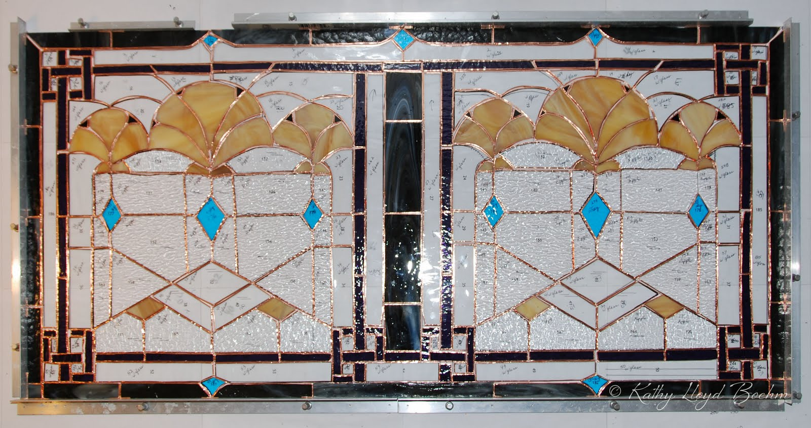 Boehm stained glass blog art deco stained glass window foiled for Art deco glass windows