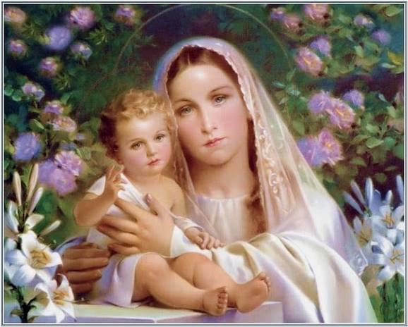 Amarna imagens nossa senhora e o menino jesus