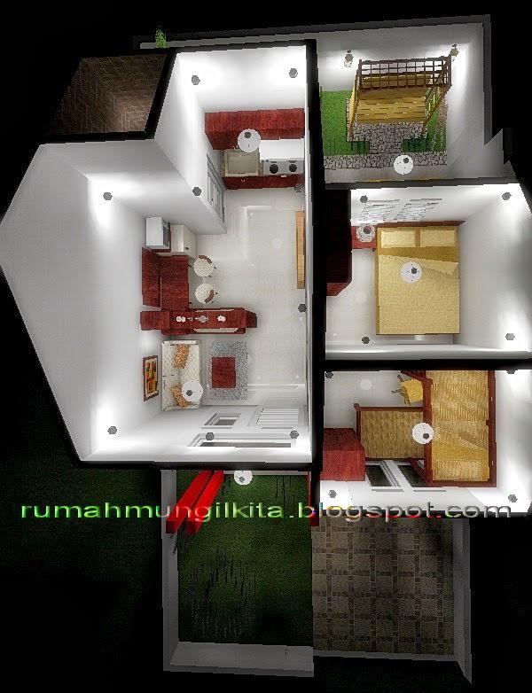 Desain Rumah Minimalis Tipe 30 Tanah 72 m2 - denah 3 dimensi