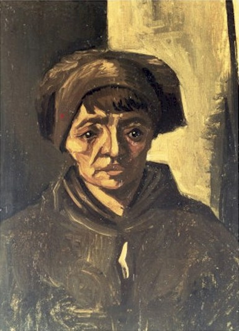 Head of a Peasant Woman with Dark Cap (F 136a, JH 548) by Vincent van Gogh