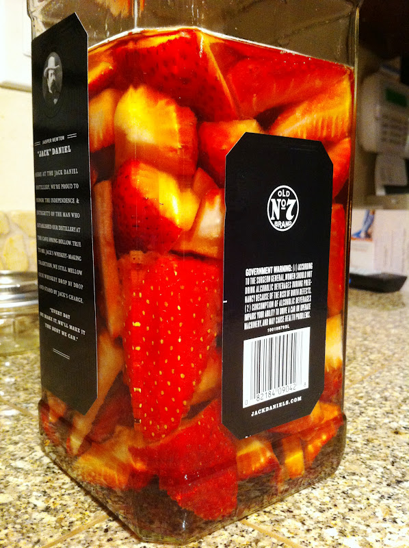 First off, the strawberry infused bourbon .