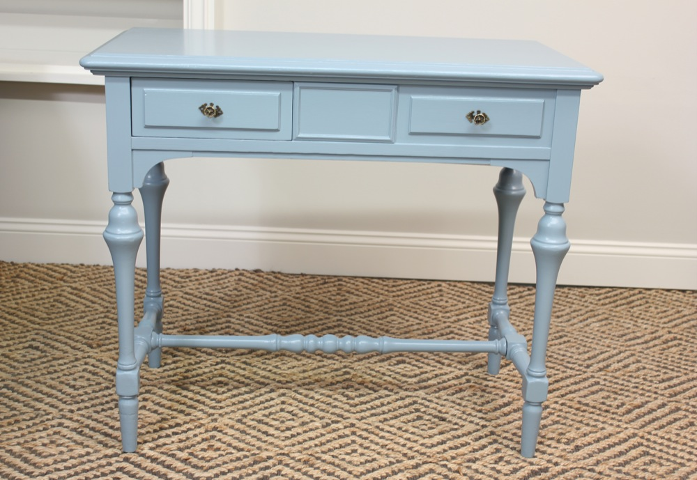 Blue lamb furnishings blue vintage deskconsolesewing table sold it could serve as a small desk a sofa table a front entry accent table a tv console table or a vanity measures 19w x 36d x 30 12h watchthetrailerfo