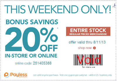 get 20% at payless shoes with online coupon code