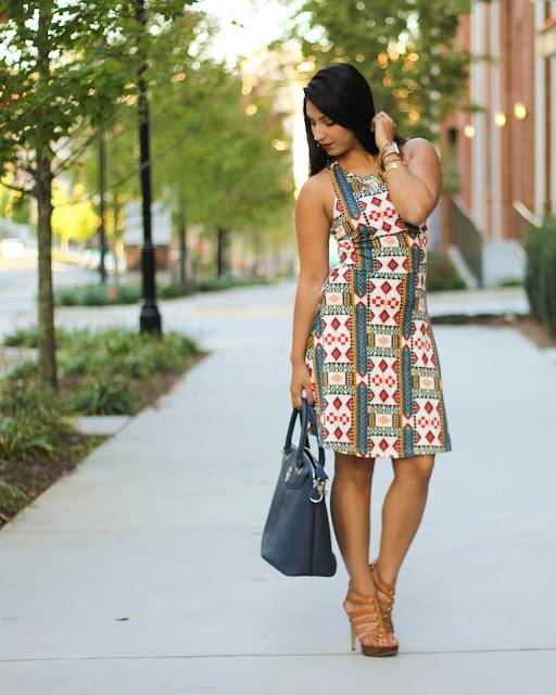 printed dress, hm, printed racerback dress, racerback dress, gregory sylvia, apple watch, navy handbag