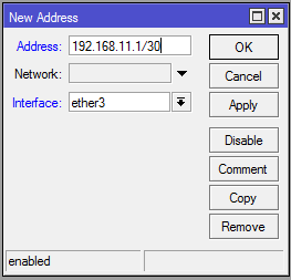 mikrotik - IP address settings