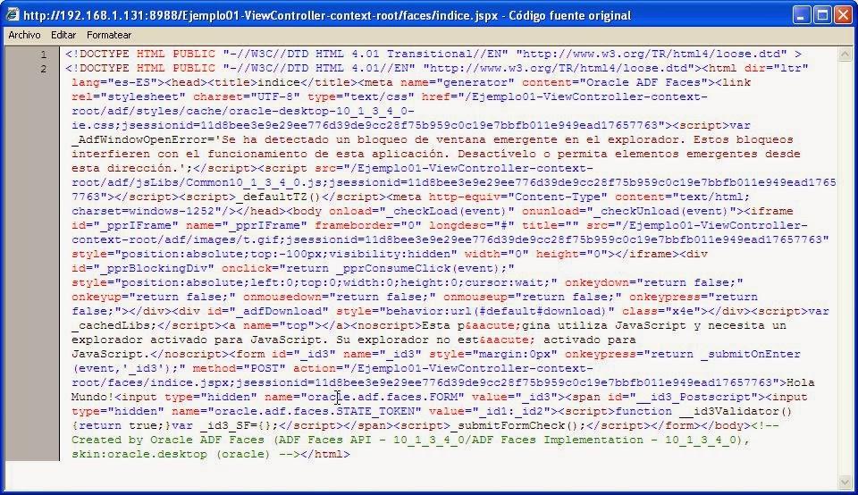codigo html generado