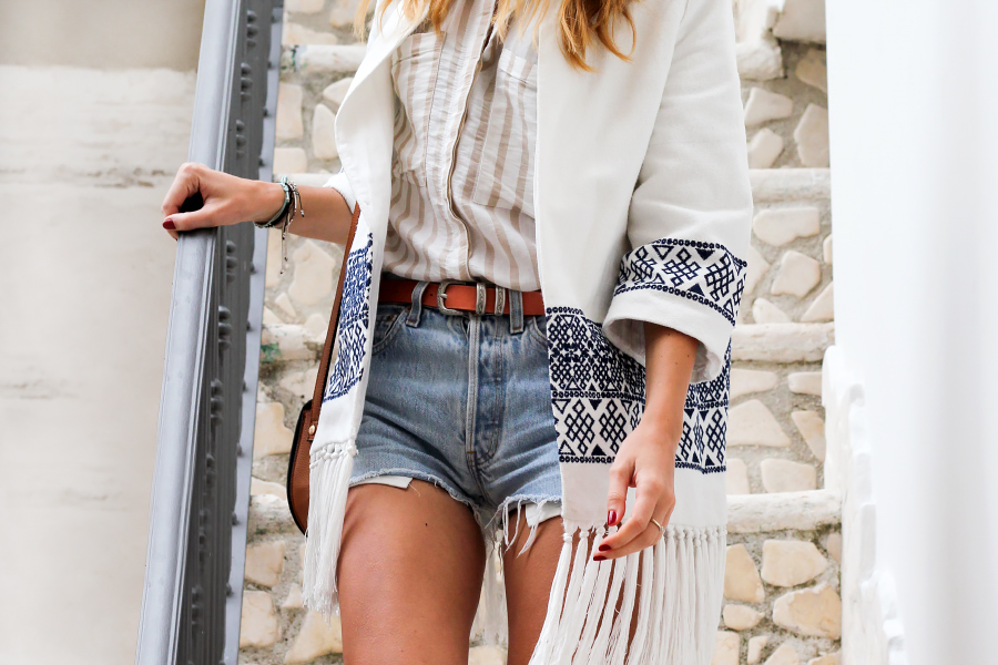 embroidered fringe kimono, vintage Levis cutoffs, tan accessories