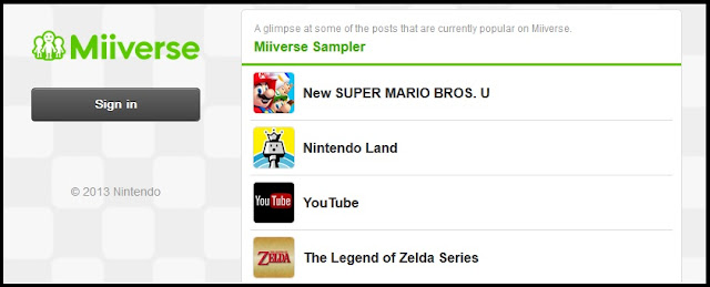 Screenshot of the browser version of Miiverse, Nintendo's social network