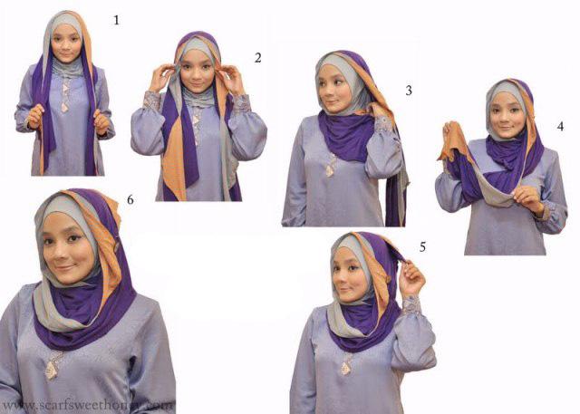 Tutorial lengkap bagaimana cara memakai jilbab modern model terbaru ...