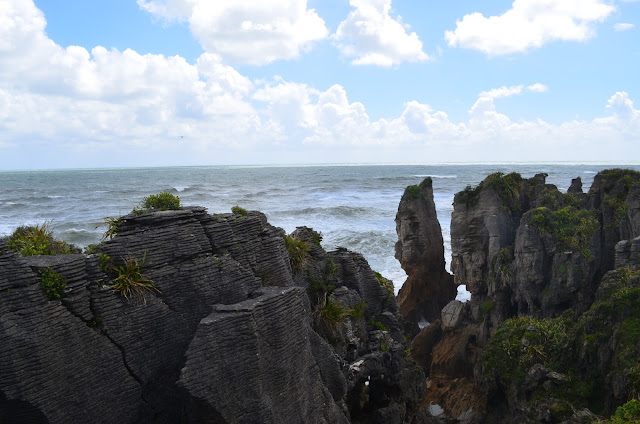 Layered pancake rocks at Punakaiki, New Zealand
