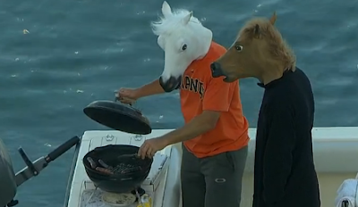 S.F. Giants fans McCovey Cove horse masks