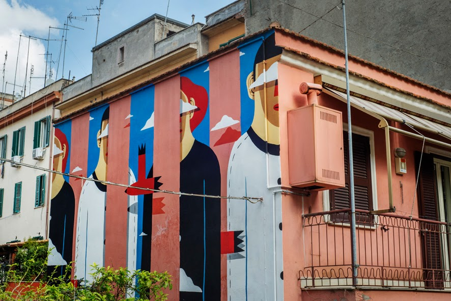 """Here comes Agostino Iacurci's latest piece on the streets of Rome entitled """"Clear Sky on the Pink House""""  which is part of the excellent """"Light Up Torpigna"""" project made by Wunderkammern Gallery and Roma Capitale"""