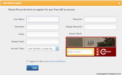 Các bước đăng ký adf.ly