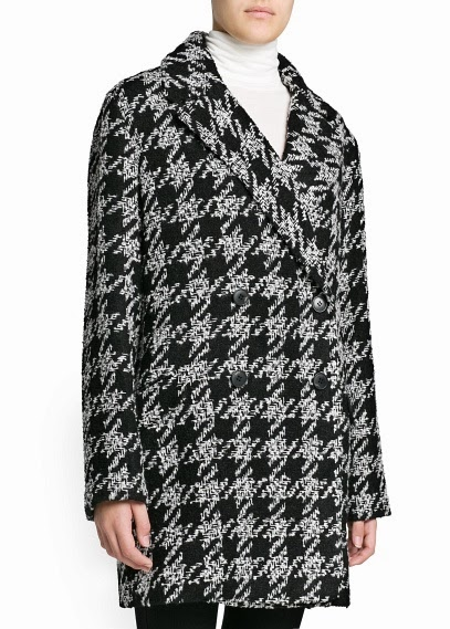 Black and white check Mango coat