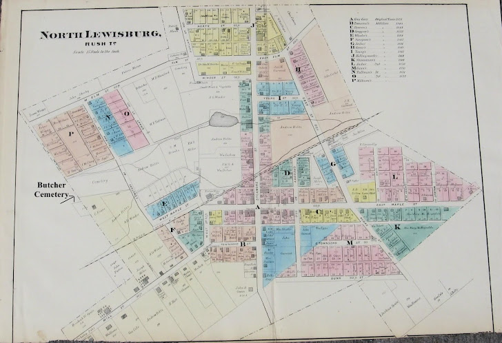 1874 North Lewisburg, Champaign County, Ohio Plat Map