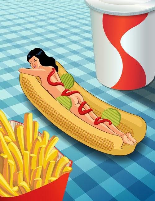 Wendy Ding ilustrações food girls mulheres comida sensuais
