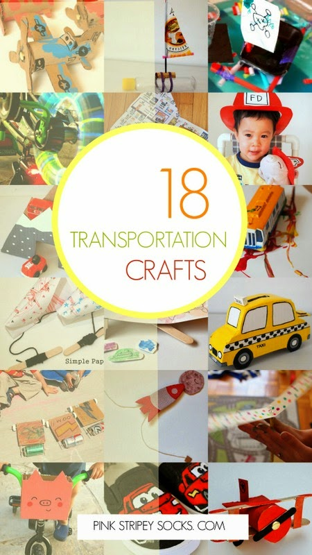 18 AWESOME Transportation crafts- planes, trains, buses, bikes, space shuttles, kites, trucks