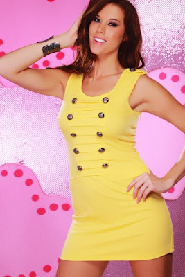YELLOW SLEEVELESS SCOOPNECK MILITARY BUTTON FRONT MINI DRE