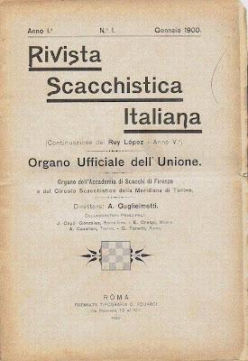 Portada de la Rivista Scacchistica Italiana, número 1, 1900