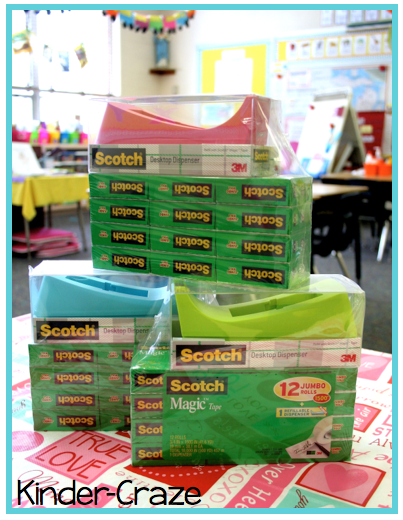 Colorful tape dispensers= perfect for my classroom