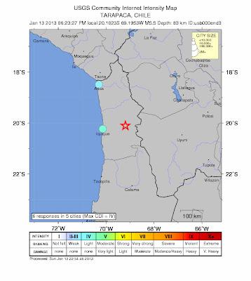 Epicentro sismo 5,5 grados en el Noerte de Chile, el 13 de Enero de 2013