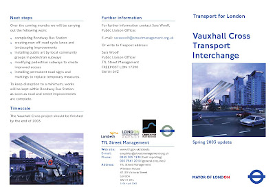 Vauxhall Cross Leaflet page 1 on lambethcyclists.org.uk