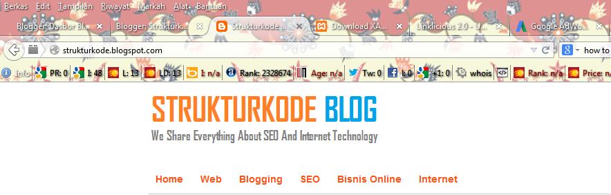Informasi tools seoquake pada browser