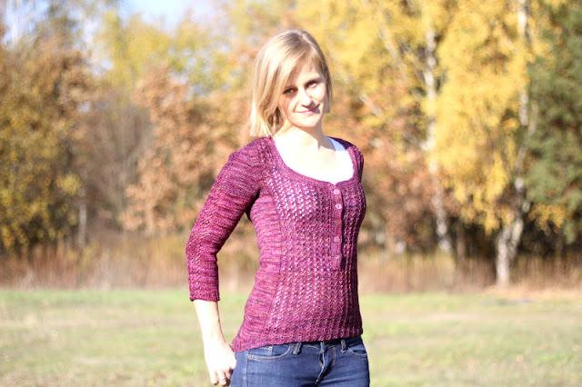 Sweter ręcznie robiony na drutach z wełny z merynosa