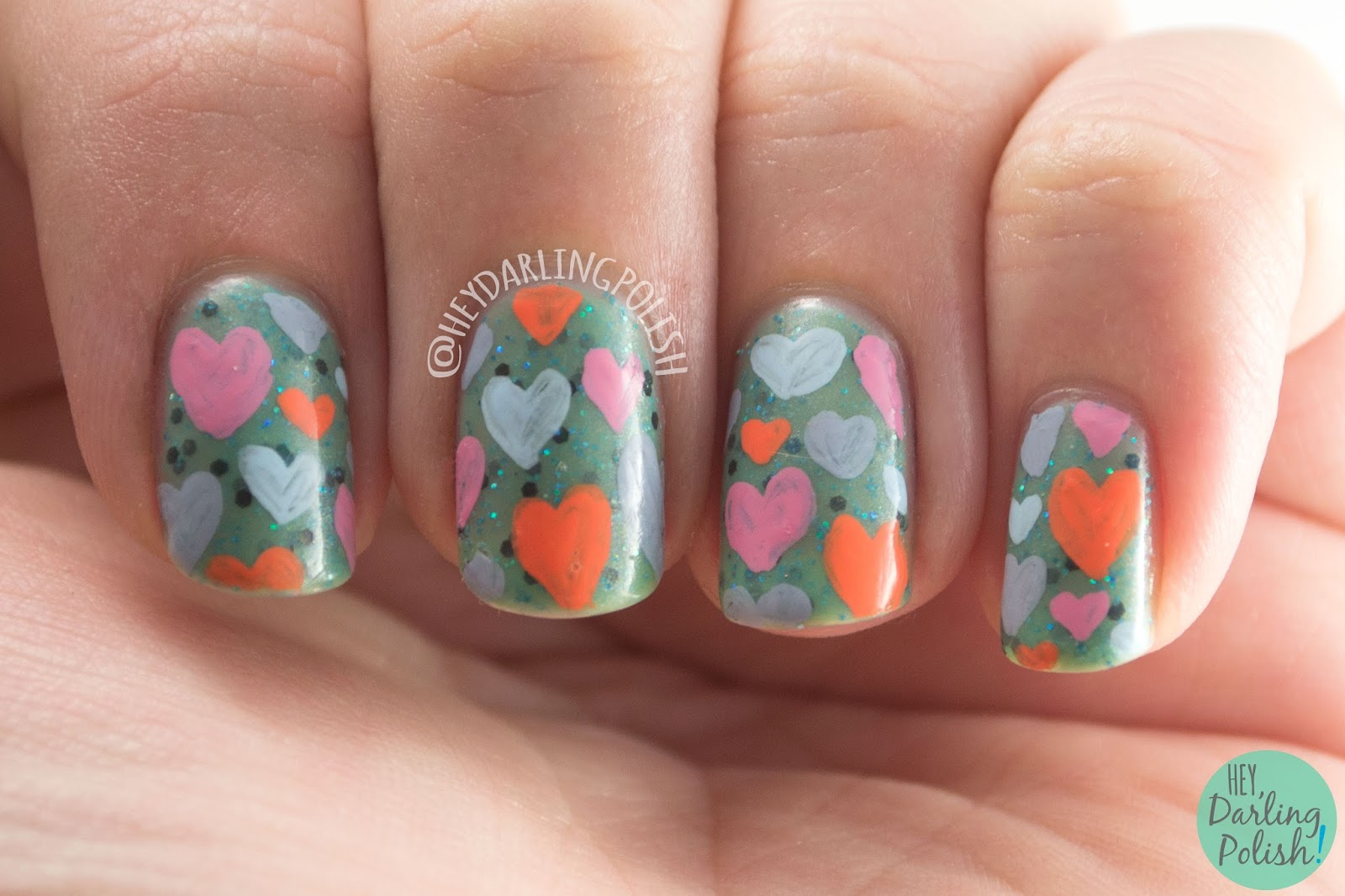nails, nail art, nail polish, indie polish, hearts, hey darling polish, squishy face polish, nail linkup