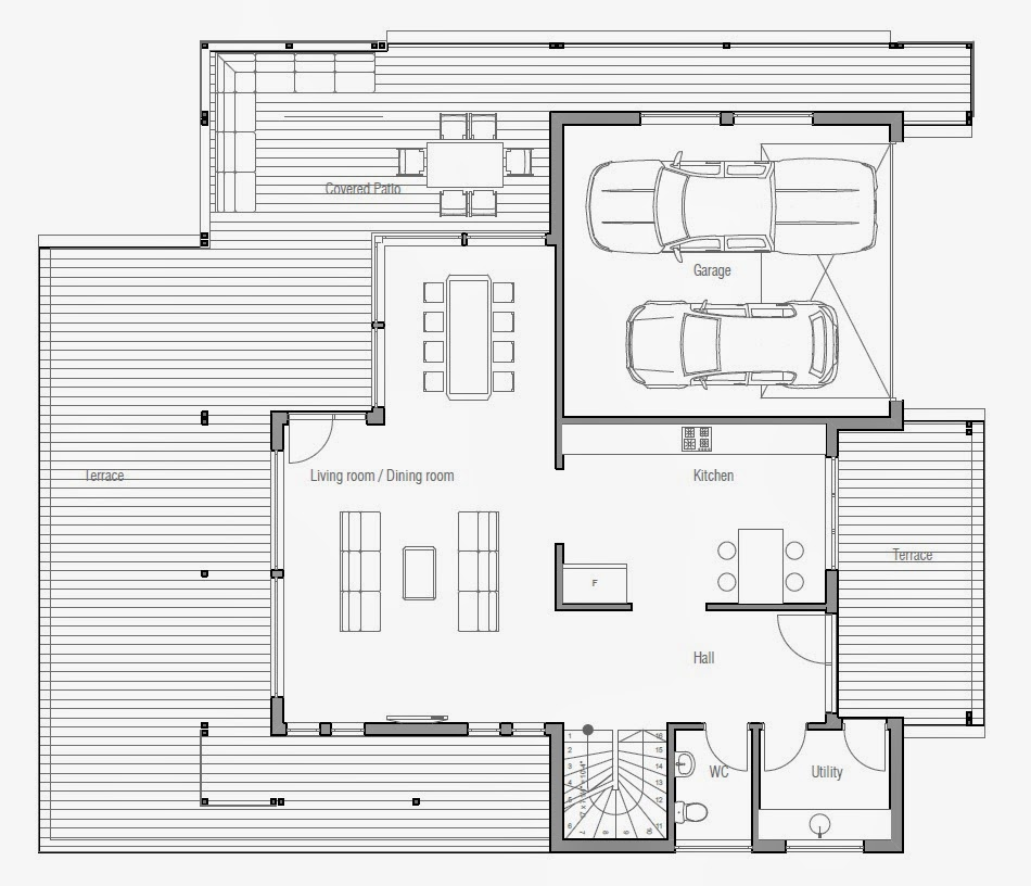 Ch205 modern beach house plan beach house plans for Modern beach house floor plans