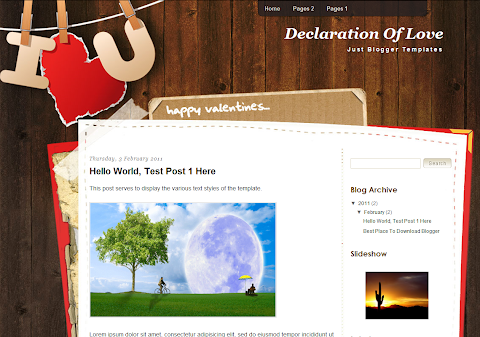 Declaration Of Love Blogger Theme