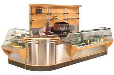barra grande de cafetería