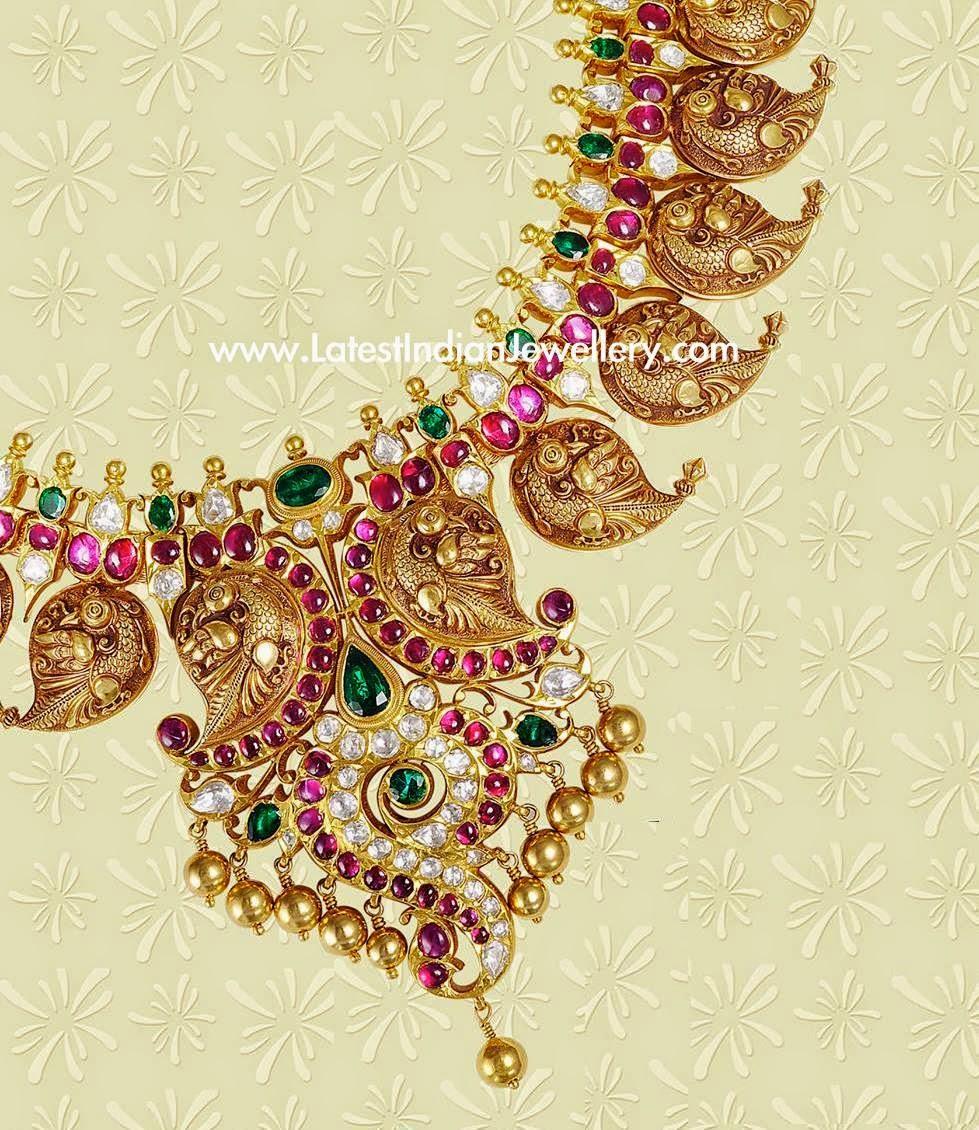 Peacock Design Mango Mala Necklace