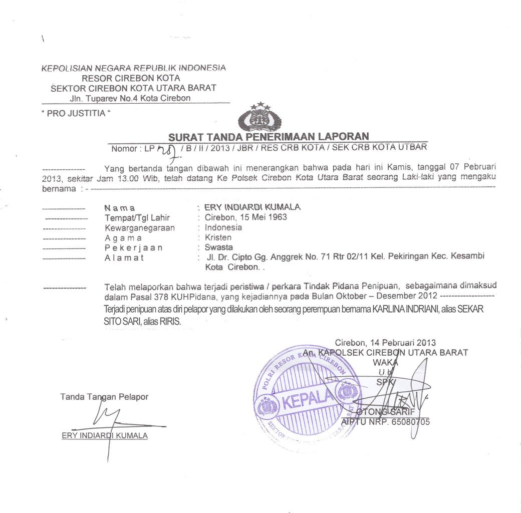 Surat Tanda Penerimaan Laporan Polisi Brigade 86 Cara
