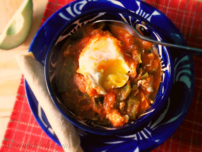 Eggs in Tomato Salsa w/ Roasted Poblano Strips - lacocinadeleslie.com