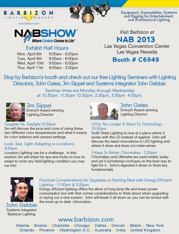 Barbizon Lighting NAB 2013 Booth 6949  class schedule.