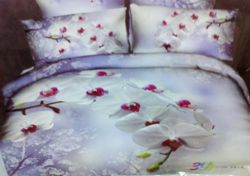 Sprei Jepang Panel Motif Bunga Anggrek Putih