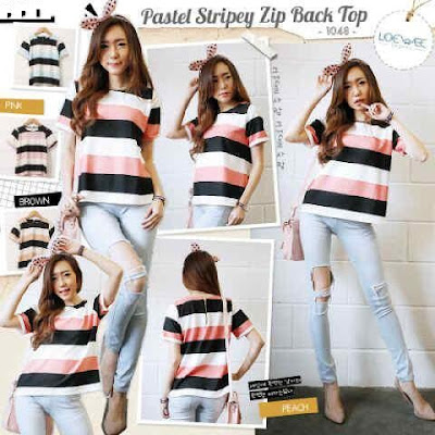 Blouse Pastel Stripey Zip Back Top - 10433