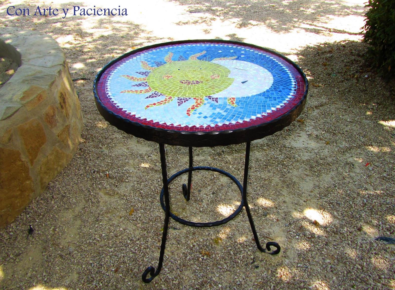 mesa,hierro,mosaico,teselas,pegamento,tiffany,cristales,sol,luna,naturaleza,hacer,mosaico,mano,
