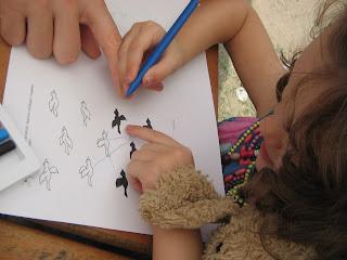 Gyöngyös blúzban lévő barna hajú kislány párosítja a cinegéket az árnyékukhoz.